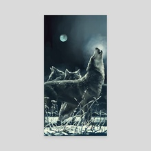Wolves - Canvas by Zhovba Pavel