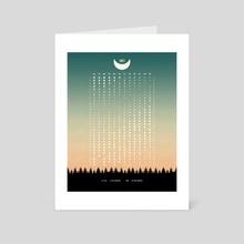 Green Moon Phases Calendar 2021 - Art Card by Imagonarium