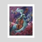 Fantasia in Green and Blue, The Cello Player - Art Print by Manelle Oliphant