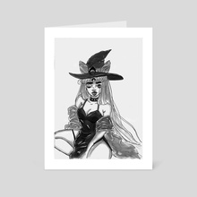 Dark Lady ink painting print - Art Card by Amber Fleming