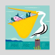 The Greedy Pelican  - Canvas by Oliver Lake