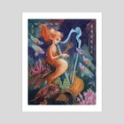 Fantasia In Green and Gold, The Harp Player - Art Print by Manelle Oliphant