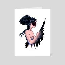 Owl girl. - Art Card by Lubov Soltan