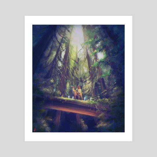 Deep in the forest - Ashitaka and Yakul by Rina Maruyama