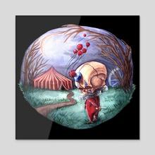 Halloween Clown Skellie - Acrylic by Kat Powell