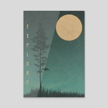 Explore The Wild Night Landscape - Acrylic by StrangeFrontierArt