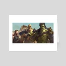 Thor Korg and Hulk - Art Card by George Evangelista