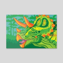 Triceratops (lime) - Acrylic by Jennifer Smith
