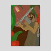 Blacksmith against plants - Canvas by gabryel gonçalves