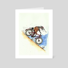 Badger on a bike - Art Card by Magnus Blomster