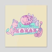 Strawberry Kitty cake - Acrylic by Cuddle Bunnie