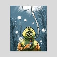 Deep Sea Beer Diver - Canvas by Chi-Yun Lau