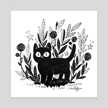 Cat and black thistles - Canvas by Cloudy
