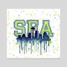 Seattle Washington Watercolor  - Canvas by Olga Shvartsur