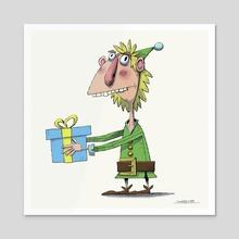 Christmas Elf 2 - Acrylic by Duncan Kay