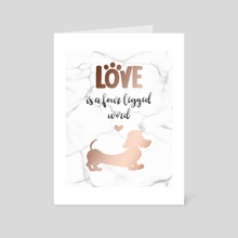 Wire hair Dachshund rose gold - Art Card by Laura R