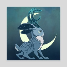 Jackalope Moon - Canvas by Danie Hadsall
