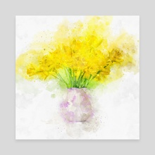 Daffodils in a Vase - Mixed Media - Canvas by Dreamframer