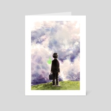 He stops to look at the sky.  - Art Card by dea angelica koewandhono