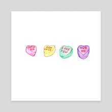 Candy Hearts - Canvas by Kari Friestad