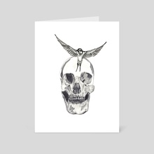 Skull and bird - Art Card by Chrissy Mouncey