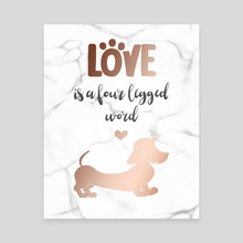 Wire hair Dachshund rose gold - Canvas by Laura R