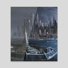"""Android: Netrunner """"Lady Liberty"""" - Acrylic by Emilio Rodríguez (Emkun)"""