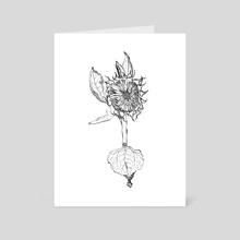 One Sunflower - Art Card by Mariia Bykova