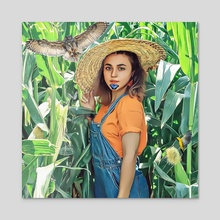 Farm girl - Acrylic by aliasghar shabani
