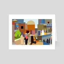 A colorful Arab village - Art Card by Michal Eyal