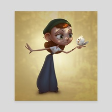 Girl and Bird - Canvas by Jéssica Ribeiro