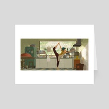 Yoga in daily live #4 - Art Card by zhi kang Lim
