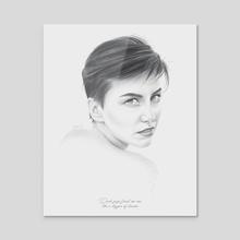 Gaze Portrait - Acrylic by Moisés Rodríguez