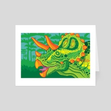 Triceratops (lime) - Art Card by Jennifer Smith
