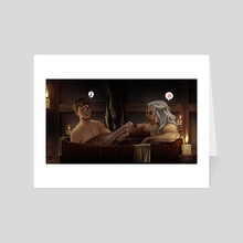 Bath with your withcer -silly version - Art Card by Chou Yaki