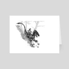 Utahraptor downhill - Art Card by Shaun Keenan