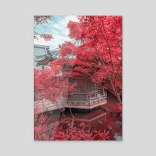Pink Temple In Miyajima - Acrylic by Raphael Lopes