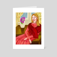 Lady in Coral - Art Card by Amy Albert