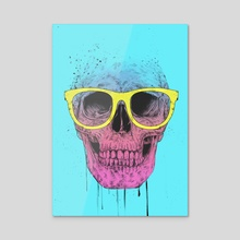 Pop art skull with glasses - Acrylic by Balazs Solti