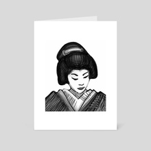 Geisha illustration - Art Card by Bernardo Ramonfaur