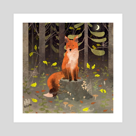 fox in the night forest by Lara Paulussen