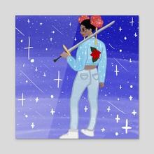 Sword Girl - Acrylic by Jive_ peaches