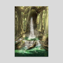 Tree with Waterfall - Canvas by Billy NB