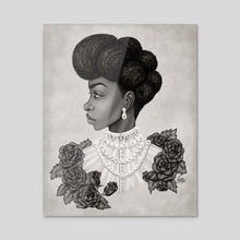 Black Victorian Woman - Acrylic by Shakira Rivers