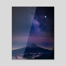 Milky Way over Mt. Fuji - Acrylic by Victor Gonzalez