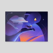 At Dusk, Prometheus Dreams of Fire - Acrylic by Cynthia Zhou