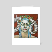 Two Horns One Mind - Art Card by Jane Spakowsky