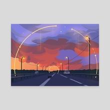 Cat on the road - Canvas by Arina Mochalova