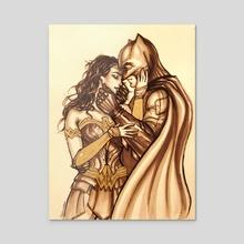 Batman and Wonder Woman - Acrylic by Christy Tortland
