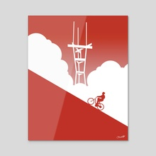 Biking in San Francisco: Sutro Tower - Acrylic by Chris Cerrato